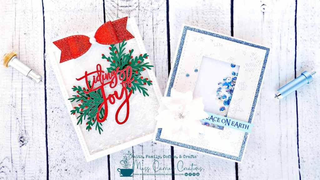 two shaker christmas cards with cricut engraved acetate