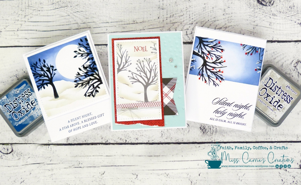 three christmas cards created using distress oxide inks and stamped tree images